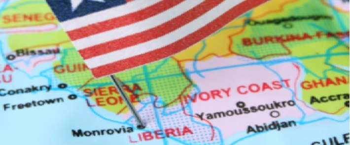 Liberian-Flag-sticking-into-map