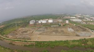 Aerial view of the Kpone thermal power plant site in Ghana